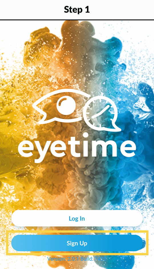 eyetime login and signup screen