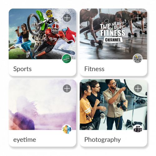 communities and channels available in the eyetime app. sports, fitness, photography, eyetime news