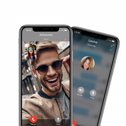 video call and voice call feature within the eyetime app