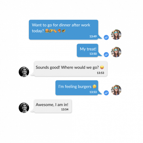 instant messaging inside the eyetime app, read receipts and emojis